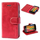 moto g gen 1 case - Moto G 1st Gen Case,Mulbess Leather Case, Flip Folio Book Case, Money Pouch Wallet Cover with Kick Stand Motorola Moto G 1st Generation,Wine Red