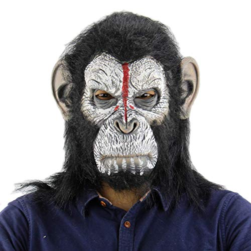 (King Kong Planet of The Apes Gorilla Mask Hood Monkey Latex Animals Masks Blood Scary Halloween)