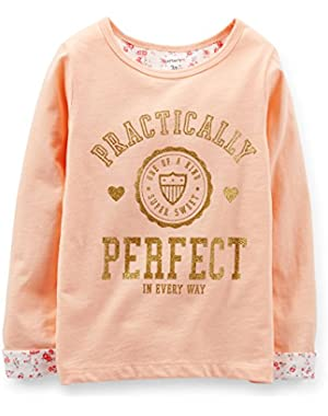 Little Girls' Floral Lined Tee Perfect Top (5 Toddler, Peach)