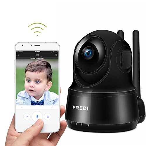 Fredi Wireless Baby Monitor Camera 720P Security Ip Home Camera With Two Way Talking Infrared Night Vision Pan Tilt P2p Wps Ir Cut Nanny Ip Camera Motion Detection  720Pblack