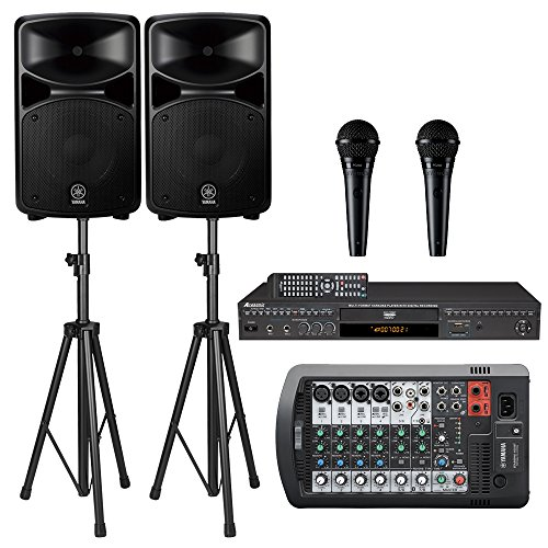 Yamaha Stagepas 400BT PA System W/Bluetooth Bundle with Acesonic DGX-220 HDMI Karaoke Player & Shure PGA58QTR Vocal Mic (Pair)