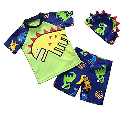 UNIQUEONE 3PCS Toddler Baby Boy Short Sleeve Dinosaur Print Rash Guards Swimsuit UV Sun Protection by UNIQUEONE
