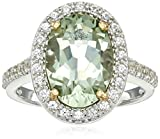 Rhodium Plated Sterling Silver Two Tone Oval Genuine Green Amethyst 13x9mm and Round Created White Sapphire Halo Ring, Size 7