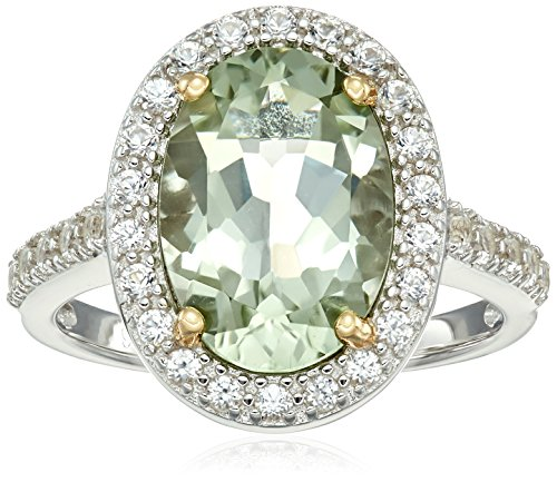 Rhodium Plated Sterling Silver Two Tone Oval Genuine Green Amethyst 13x9mm and Round Created White Sapphire Halo Ring, Size 7 - Green Silver Plated Ring