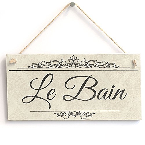 Le Bain Plaque - PotteLove Le Bain - Handmade Shabby Chic Wooden Shabby Chic Wooden Sign Plaque 5