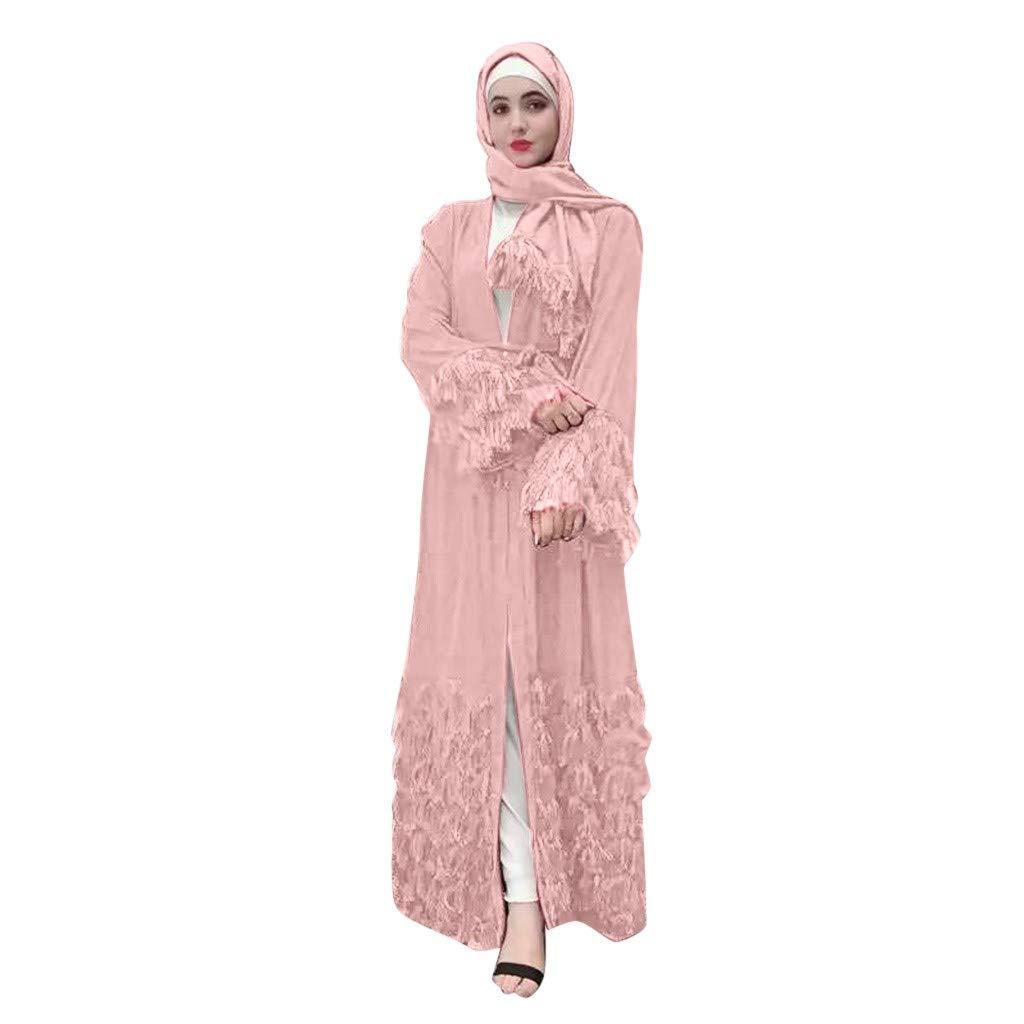 UOFOCO Muslim Tassel V Neck Dress Women Long Sleeve Arab Long Dress Pink