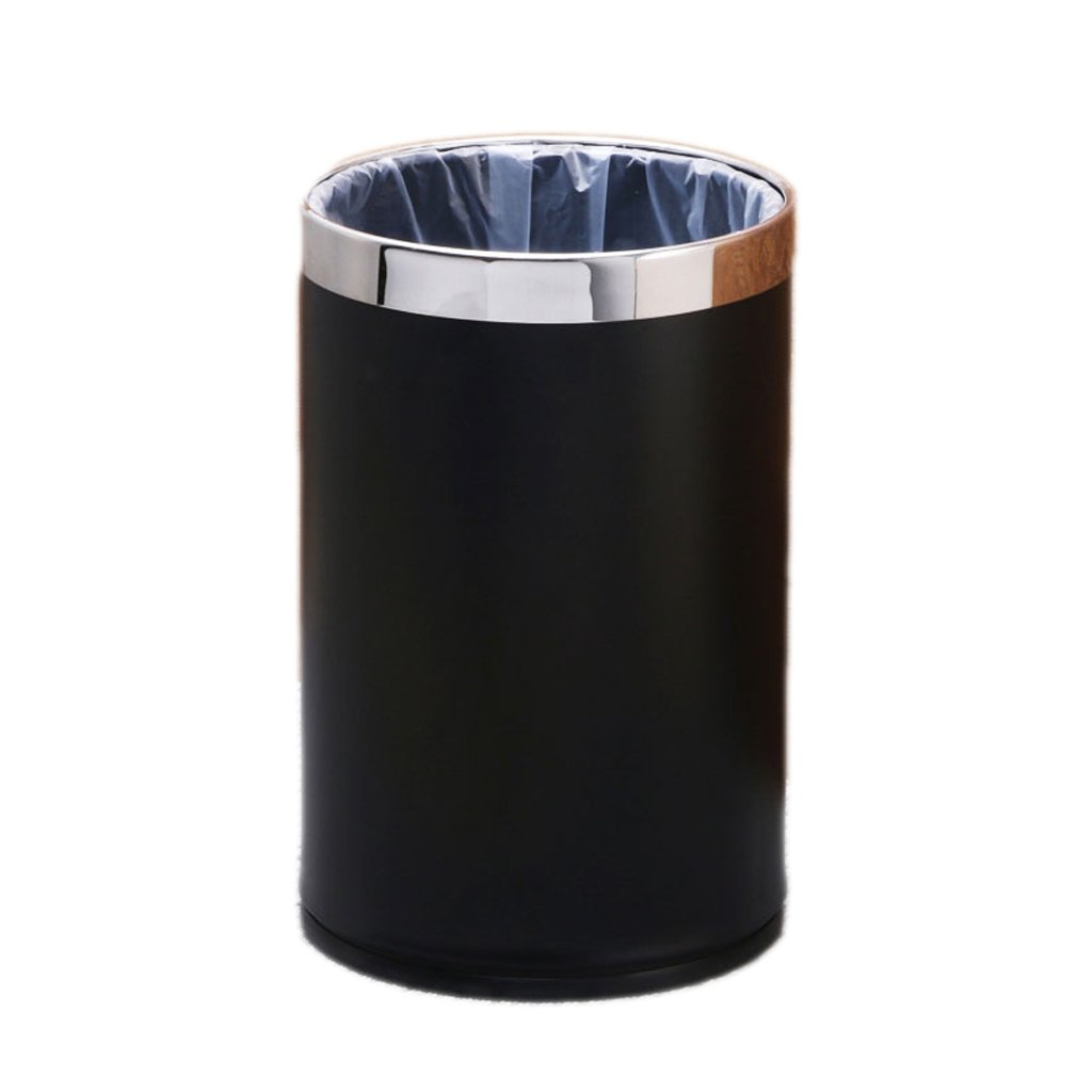 Round Stainless Steel Trash Large Kitchen Bathroom Living Room Living Room Without Cover 9L ( Color : Black )
