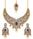 Touchstone Indian bollywood blue and yellow color bridal jewelry necklace in antique gold tone for women