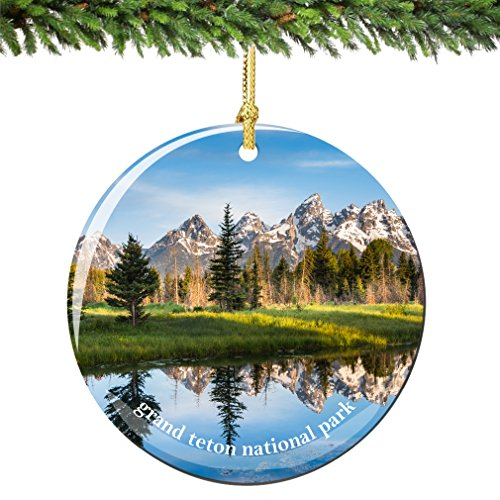 City-Souvenirs Grand Teton National Park Christmas Ornament 2.75 Inch Double Sided Porcelain National Park Ornaments
