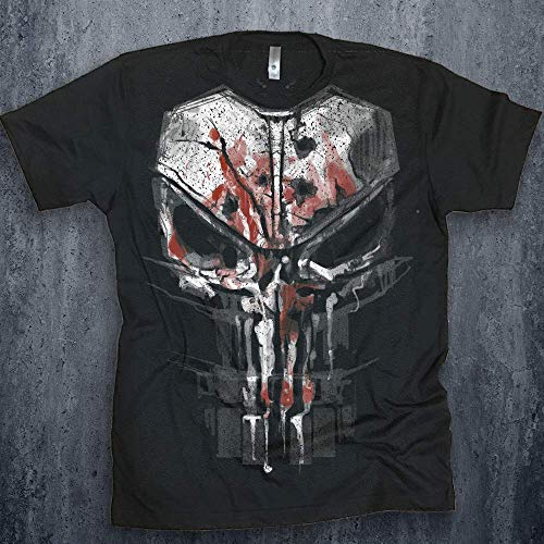 5f1695191 Punisher Men's Bloody New Skull Graphic T-shirt Season 2 Daredevil Tee  Netflix Marvel Shirt