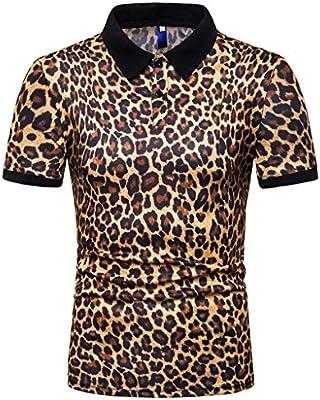 TOUSHI Camisa de Manga Corta para Hombre Polo para Hombre Marcas Hombres Estilo Deportivo Night Club Camisa De Manga Corta Cuello Vuelto Camisas Polo con Estampado De Leopardo Hombre Camisetas: Amazon.es: Deportes