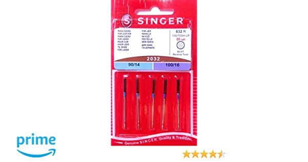 5 original Singer Agujas para Máquinas de Coser 2032 grosor 90/14 y 100/16 para piel 130/705 H-LR: Amazon.es: Hogar