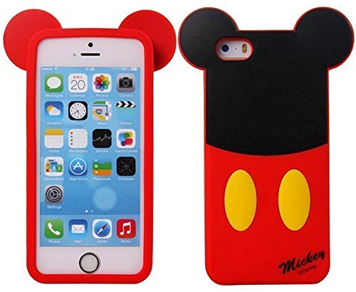 iPhone 5 Mickey Case,iPhone 5S Silicone Case,3D Cute Lovely Cartoon Case Animal Figure Mickey Mouse Soft Silicone Gel Rubber Case Cover Skin for Apple iPhone 5 5S (Mickey Mouse)