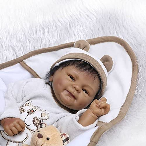 Nicery Reborn Baby Doll Indian African Dark Skin 16inch 40cm Soft Simulation Silicone Vinyl Magnetic Mouth Lifelike Vivid Boy Girl Toy White Clothes Brown Bear ID40C002