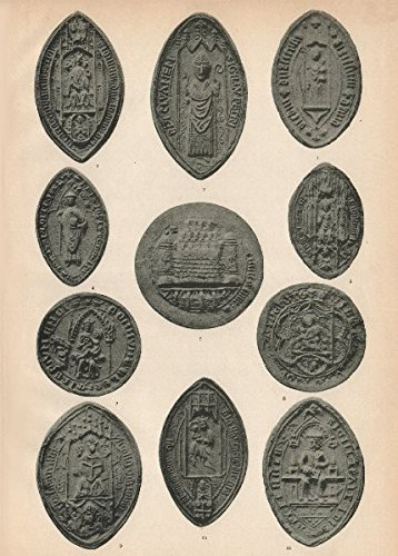 irish-eccelesiastical-seals-14-16c-elphin-clones-ferns-limerick-kilfenora-1907-old-print-antique-pri