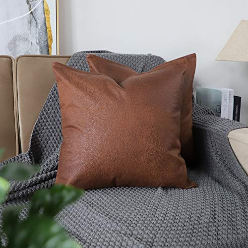 Mandioo Set of 2 Faux Leather Modern Square Throw Pillow Covers Cushion Cases Decorative for Couch Sofa Home Living Room 18 x 18 Inches Brown (Leather Pillows Large)