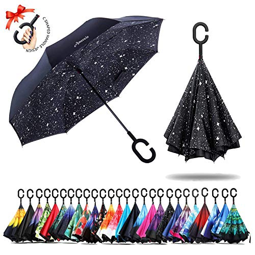 (Amersin Double Layer Inverted Umbrella Cars Reverse Open Folding Umbrellas, Windproof UV Protection Large Self Stand Upside Down Straight Umbrella Golf Women Men C-Shaped (star night))