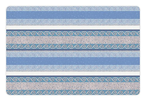 Ambesonne Toga Party Pet Mat for Food and Water, Mosaic Inspired Borders in Antique Style Swirl Motifs Geometric Artistic, Rectangle Non-Slip Rubber Mat for Dogs and Cats, Blue White Beige