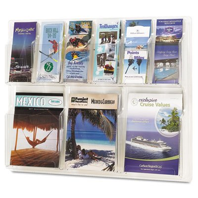 Reveal Clear Literature Displays, Nine Compartments, 30w x 2d x 22-1/2h, Clear, Sold as 1 (Reveal Pamphlet Display)