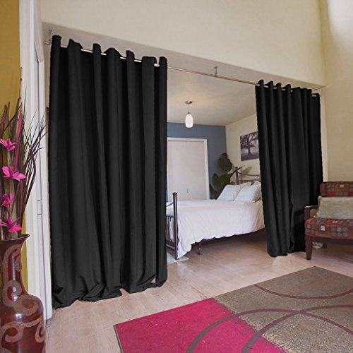 TURQUOIZE Room Divider Grommet Top Curtain panel, Patio Door curtain, Black, 8.3ft Wide x 8ft Tall (100inch W x 96inch L), sold by panel