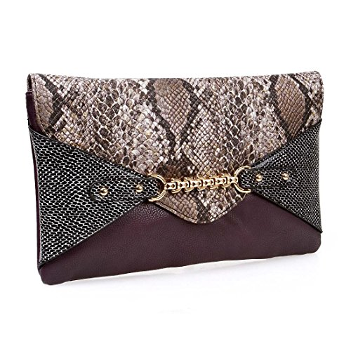 BMC Chic Faux Leather Multicolor Snakeskin Print Chain Accented Plum Purple Envelope Style Statement Clutch