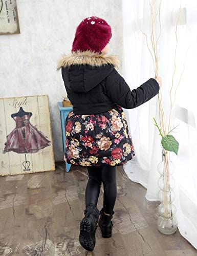 SS/&CC Girls Long Flower Printing Bowknot Winter Coat Hooded Jacket Most Wished Gift