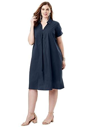 Roamans Womens Plus Size Trapeze Dress At Amazon Womens Clothing