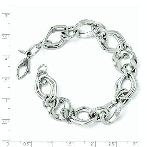 Or blanc 14carats poli et texturé Bracelet Lien Fancy-20cm