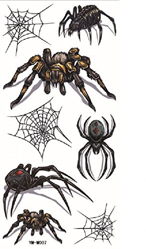 Grashine new design temporary tattoo stickers Terrible different spiders with spider web for Halloween party waterproof and non toxic fake temp tattoo sticker (Easy Spider Web Halloween Makeup)