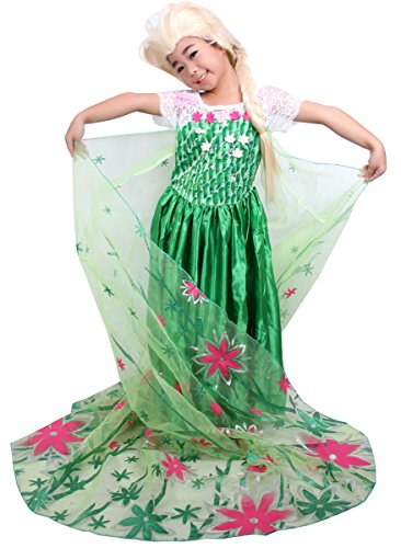 MOONSTAR New 2015 Real Queen Elsa Ball Dress Costume for Girls 3-10 Yrs (130)