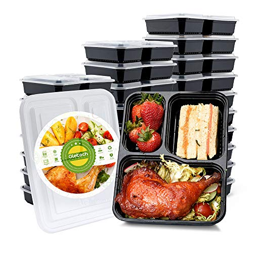 Glotoch 50 Pack 34 Ounce Lunch Box Containers Set with Lid for Meal Prep and Portion Control in 3 compartment food containers-Microwaveable, Freezer & Dishwasher Safe