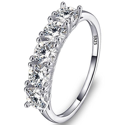 EVER FAITH Women's 925 Sterling Silver Round CZ Prong Setting Half Eternity Wedding Ring Clear - Size 8