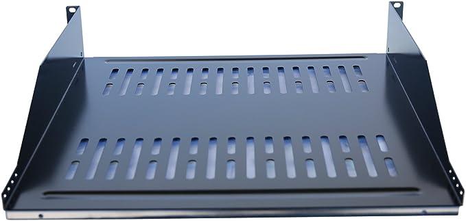 "2 Pack 19/"" Vented Steel 2 Space 2U Rack Mount Cantilever Network Shelf 16/"" Deep"