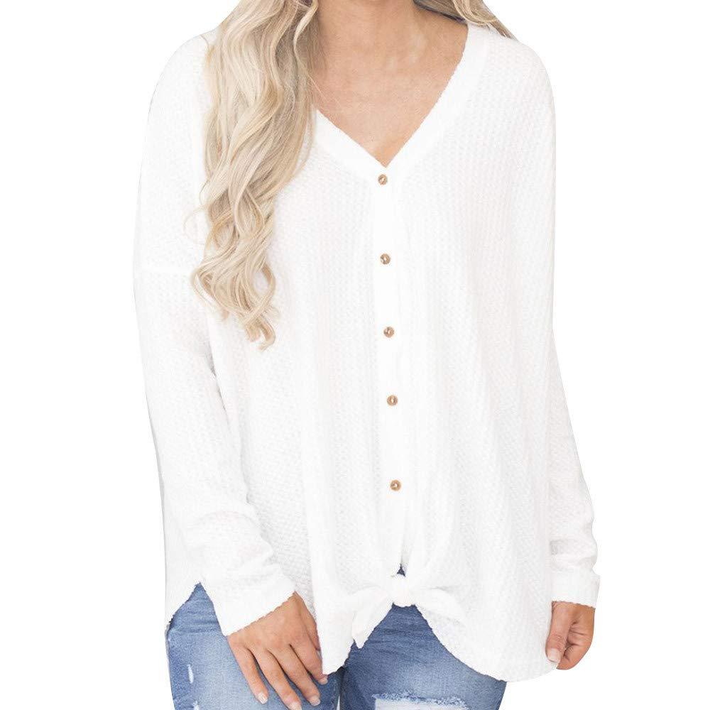 Maonet Women Loose Casual Blouse Button Knit Sweatshirt Fashion Tops Shirt (M, White)