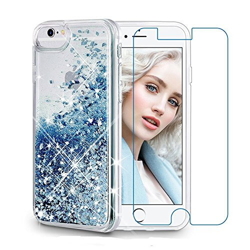 Maxdara Case for iPhone 6S 6 Glitter Case Tempered Glass Screen Protector Liquid Floating Bling Sparkle Luxury Shockproof Bumper Pretty Girls Children Case for iPhone 6 6s 7 8 4.7 inches (Blue)