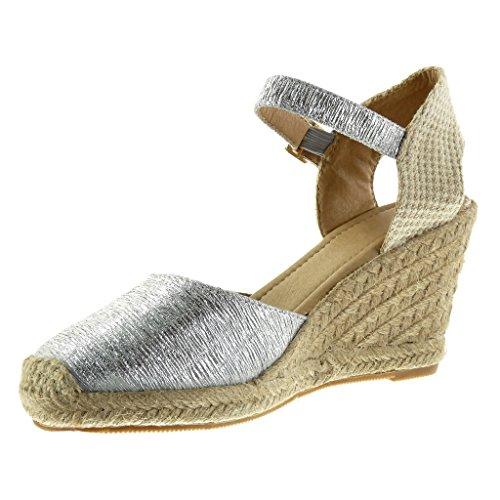 Angkorly - Chaussure Mode Sandale Espadrille ouverte femme brodé corde brillant Talon compensé plateforme 9.5 CM - Argent