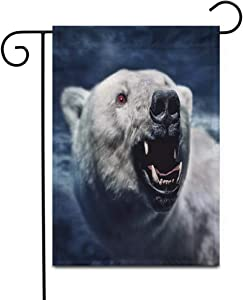 "Awowee 28""x40"" Garden Flag Roar Angry White Polar Bear The Sharp Teeth Growl Aggressive Outdoor Home Decor Double Sided Yard Flags Banner for Patio Lawn"