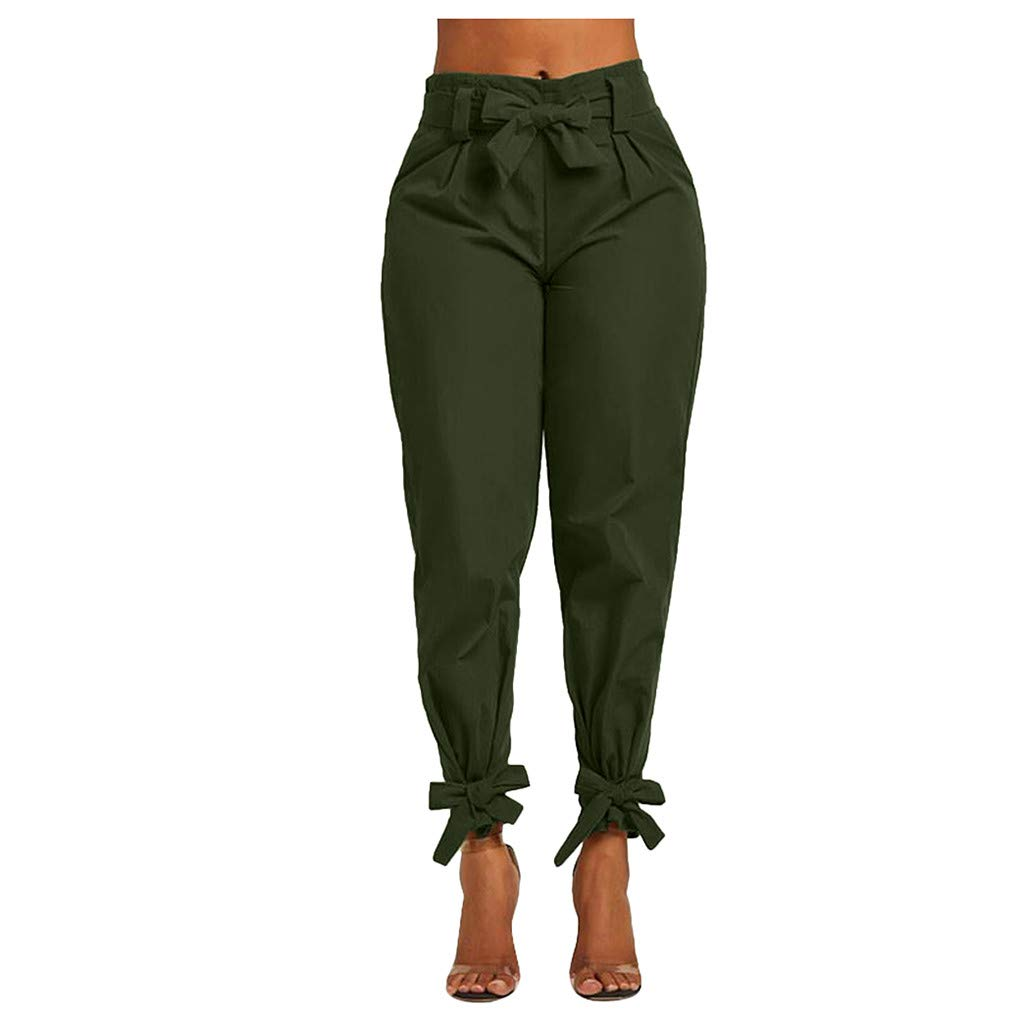 LIUguoo Women Casual Trousers, Korean Autumn Elegant Sexy Bandage Colour and Foot-Binding Slim Fit Pants Pencil Pants Army Green by LIUguoo