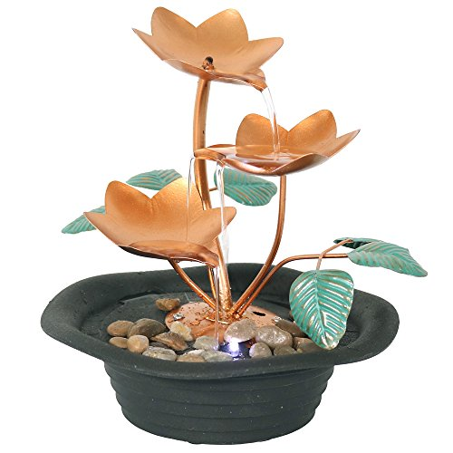 Sunnydaze Copper Blossom Cascading Tabletop Fountain with LED Light, 10 Inch Copper Round Wall Water Fountains