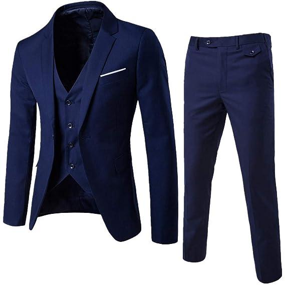 Daoroka Mens 3-Piece Slim Suit Jacket Coat Autumn Winter Business Wedding Party Jacket Vest & Pants Fashion Casual Outwear: Toys & Games
