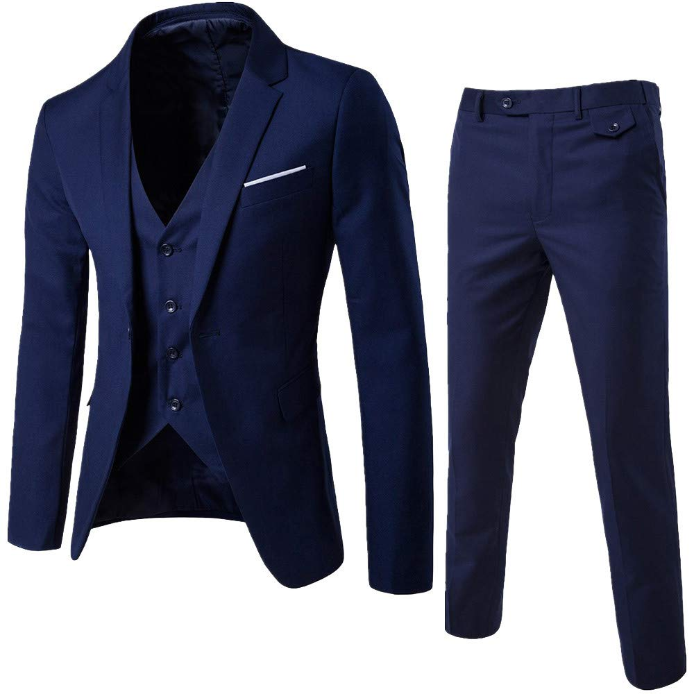 Roiper Blouson Homme Hiver Hommes Costume Slim Costume 3 Piè Ces Blazer Business Wedding Party Jacket Vest & Jeans/Pantalons