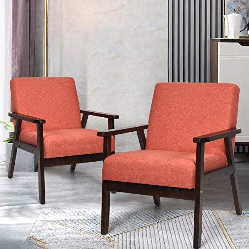 Giantex Set of 2 Mid-Century Modern Accent Chair