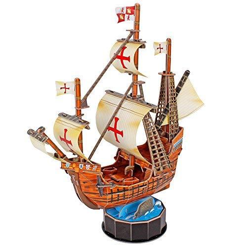 (CubicFun 3D Ship Puzzle Small Sailboat Model Building Kits Toys, Santa Maria, 93 Pieces)