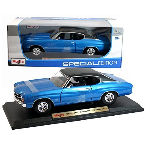 cial Edition Series 1:18 Scale Die Cast Car Set - Blue Color Classic Hardtop Sports Coupe 1971 Chevrolet Chevelle SS 454 with Display Base (Car Dimension: 10 x 4 x 3) by Maisto (1971 Chevelle Ss 454)