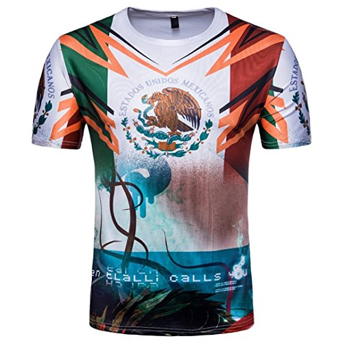 SUKEQ Men's Mexico Soccer Football T Shirt Mexican Flag T-shirt for FIFA World Cup 2018 (XX-Large, White) - Cup Slim Fit T-shirt