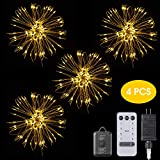 diy outdoor christmas decorations EZVOV 4 Pack 480 LED Firework Copper Wire Lights, Fairy Twinkle Lights Plug in String Lights 8 Modes Waterproof Decorative Starburst Lights DIY Indoor Outdoor Christmas Wall Decoration - Warm White