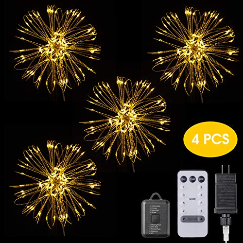 EZVOV 4 Pack 480 LED Firework Copper Wire Lights, Fairy Twinkle Lights Plug in String Lights 8 Modes Waterproof Decorative Starburst Lights DIY Indoor Outdoor Christmas Wall Decoration - Warm White -