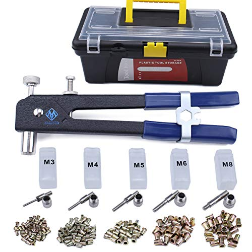 - Muzata Heavy Duty Blind Rivet Nut Kit Set, Thread Hand Riveter, Rivet Nut Gun, Rivet Gun, Riveting Tools with 500PCS Rivet Nuts RK01