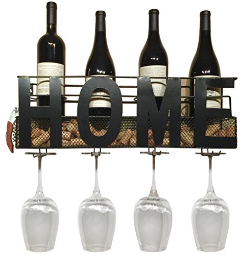 Home Wine Rack Wall Mounted Hanging Wine Cork Holder Holds 4 Bottles and 4 Wine Glasses - Comes with Paso Barrel and Bottle Gift Box! (Home Wall Mount Plus Glass Holders) - Hanging Wine Bottle Holder