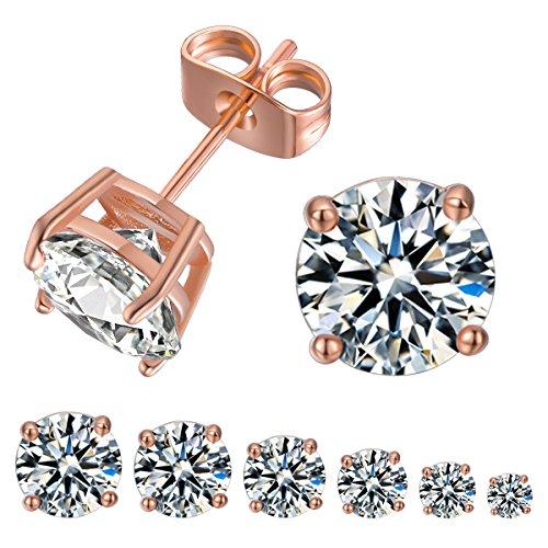 VOLUKA 6 Pairs Stud Earrings Round Cut Cubic Zirconia Studs, 18K Rose Gold Plated Simulated Diamond CZ Stud Earrings for Women Girls Ladies